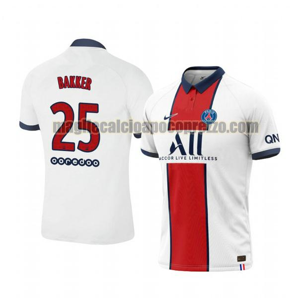 seconda maglia paris saint germain 2020-2021 mitchel bakker 25